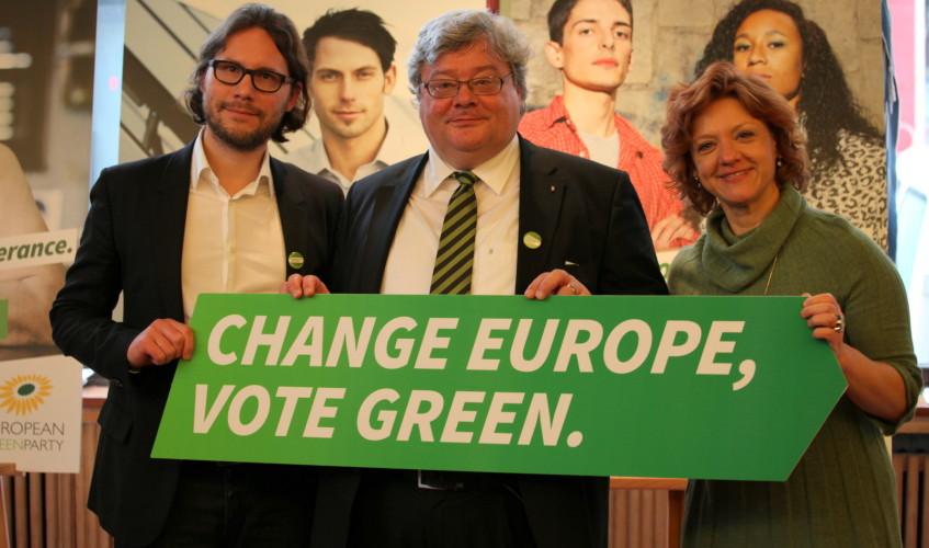 vlnr: Alexander Diehl (KKLD), Reinhard Bütikofer, Monica Frassoni – Co-Chairs of the European Green Party